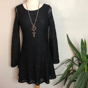 H&M Divided Black Lace Bell Sleeved Dress
